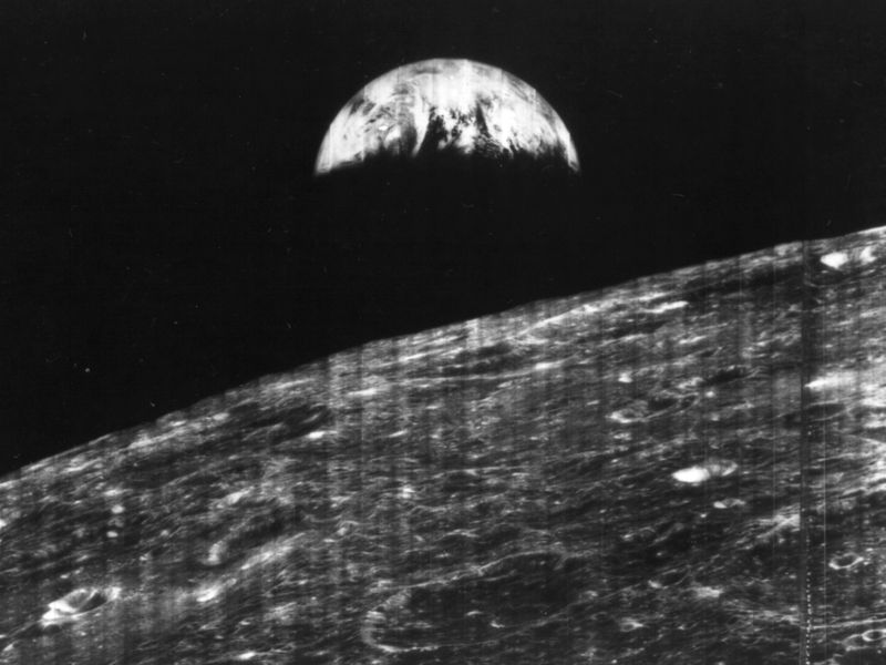CroppedEarth from Moon LUNAR ORBITER first photo of earth from space