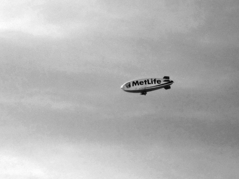 Met Life Blimp -bw- photo by Max Clarke