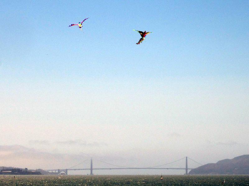 Kites over Golden Gate Bridge - photo by max clarke