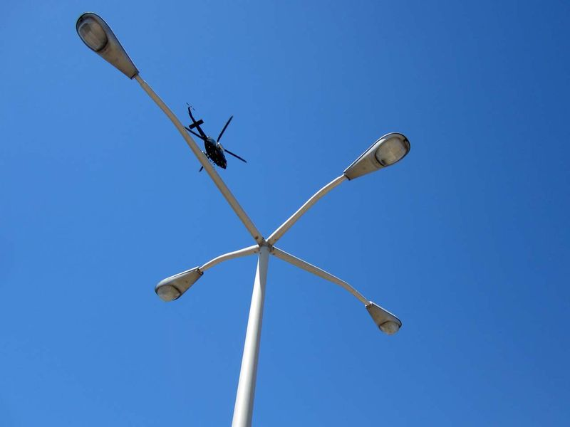 Helicopter and lamp posts ©  photo by Max Clarke