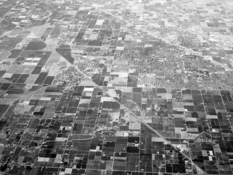 Farmfields near Modesto -bw- photo by Max Clarke
