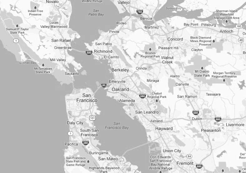 Black and white Google Map of San Francisco Bay Area - The Good Parts