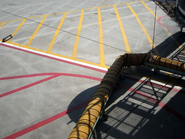 Painted lines at airport - photo by Max Clarke