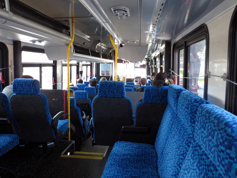 Blue Interior of 17 Bus - photo by Max Clarke