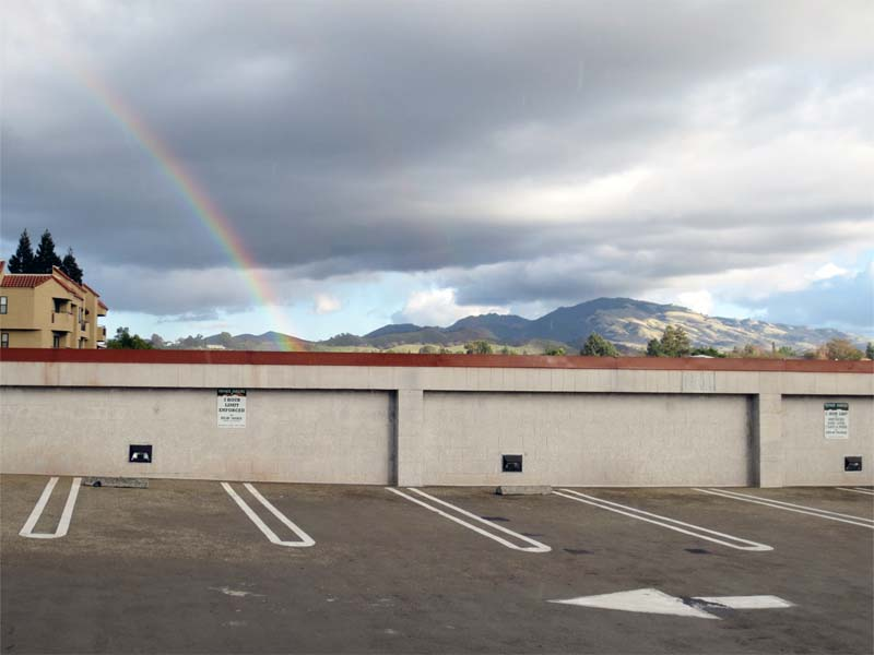 Rooftop Rainbow and Mt Diablo -©- photo by Max Clarke