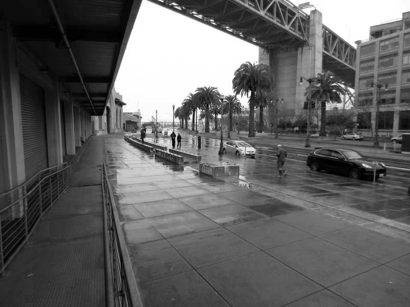 Rainy Embarcadero SF -BW- photo by Max Clarke