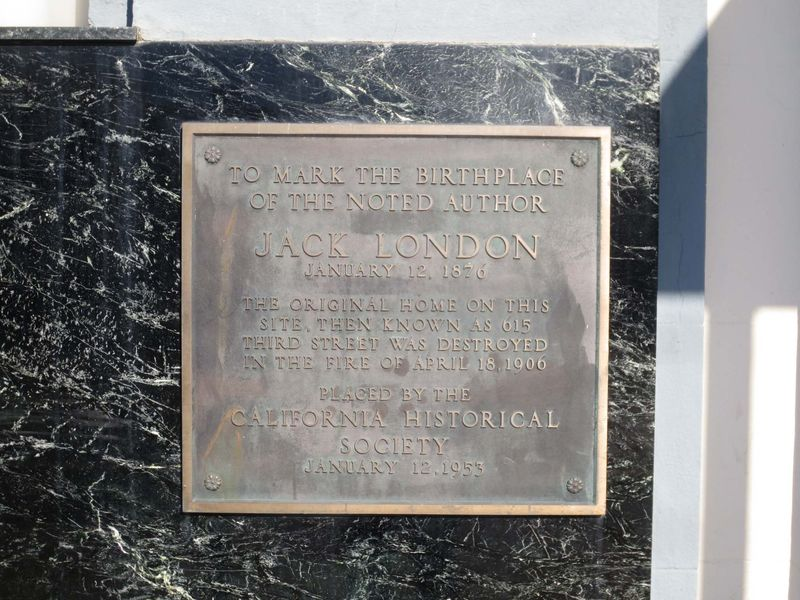 Historical Marker for Jack London Birthplace -©- photo by Max Clarke
