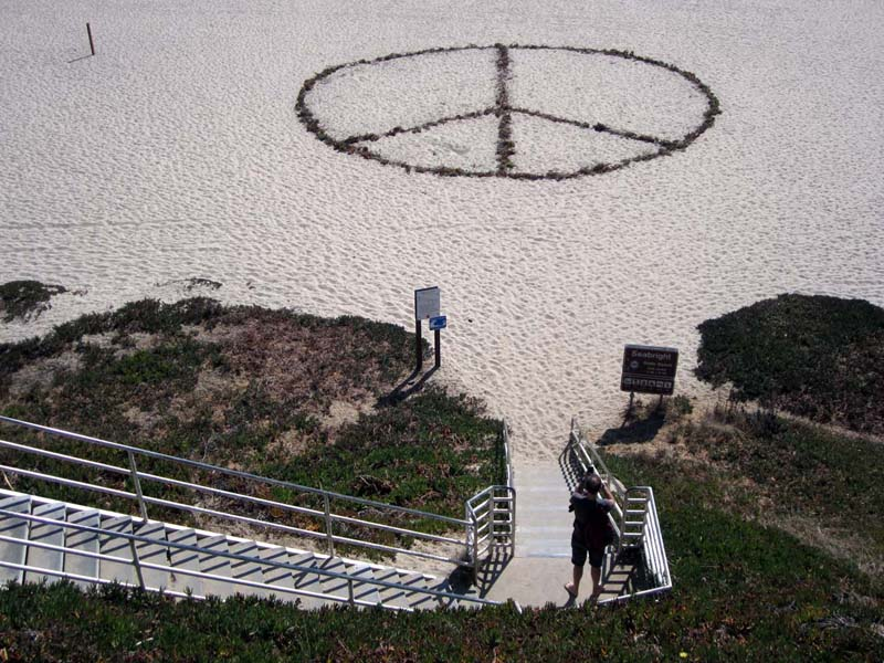 Sandy Peace Sign - photo by Max Clarke