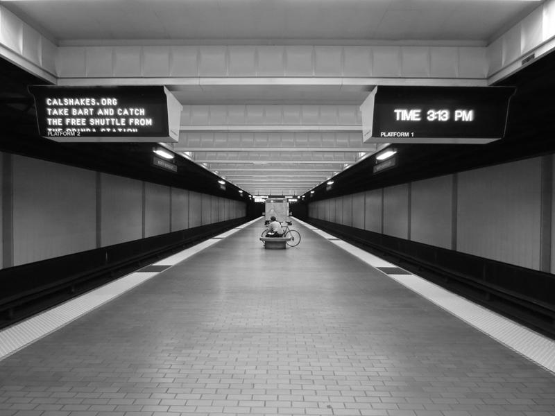 BART Platform at Three-Thirteen PM -©- photo by Max Clarke