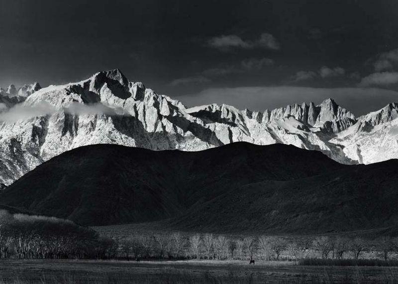 Winter Sunrise, Sierra Nevada, From Lone Pine - by Ansel Adams