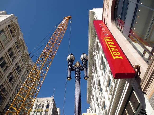 Ferrari Store and Yellow Crane-©-photo by Max Clarke