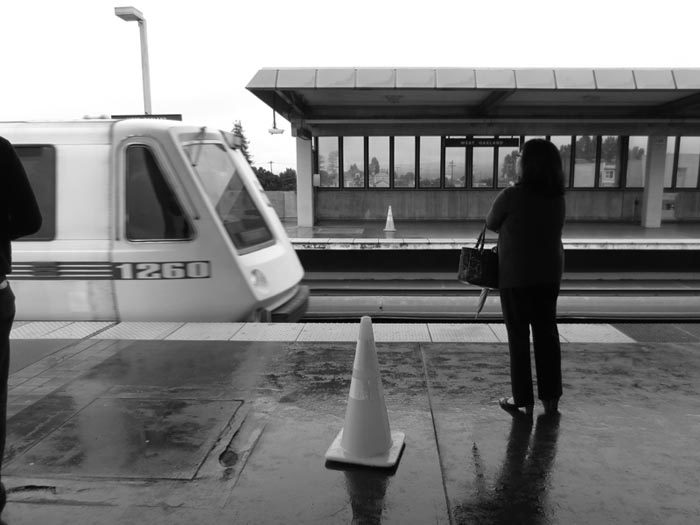 BART Train Arrives -©- photo by Max Clarke