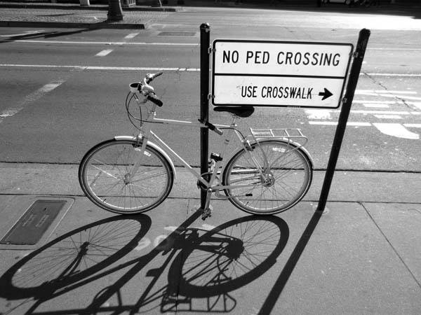 NO PED CROSSING -©- photo by Max Clarke