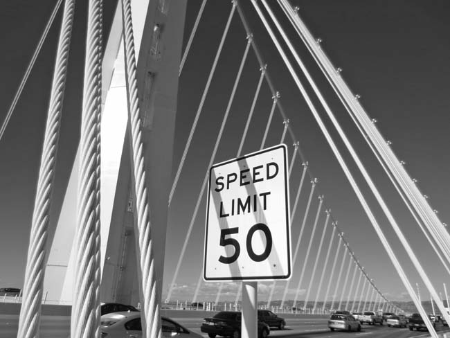 New 50 MPH sign -©- photo by Max Clarke