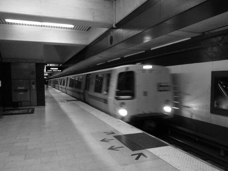 2 BART train arriving in Oakland - Max Clarke