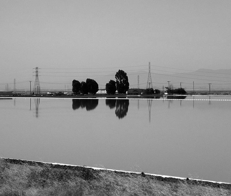 Water Reflection salt ponds - bw one - max clarke