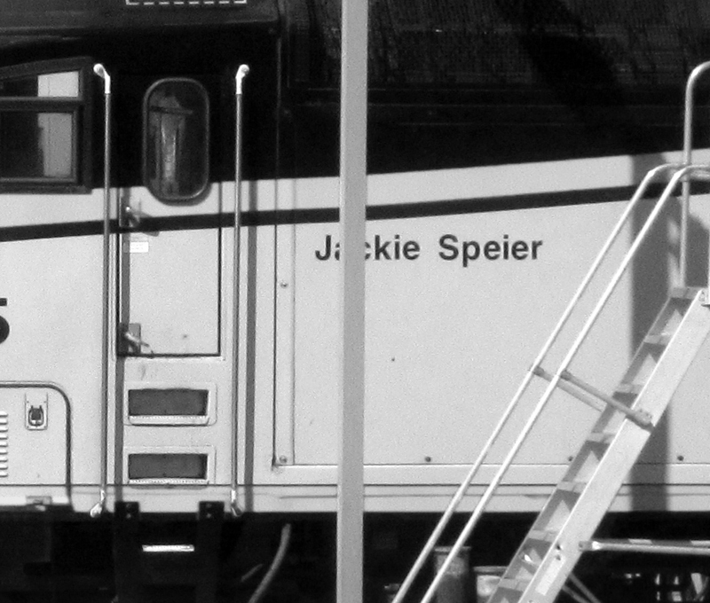 Closeup of Jackie Speier caltrain engine  - bw one - max clarke