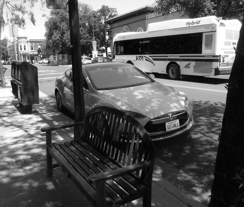 VTA Bus and Tesla - bw one - max clarke