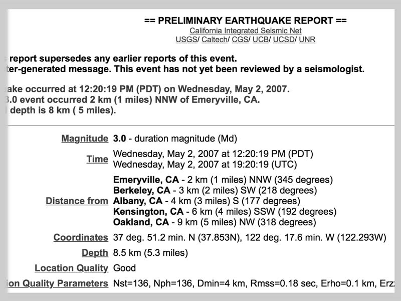 EARTHQUAKE report - max clarke