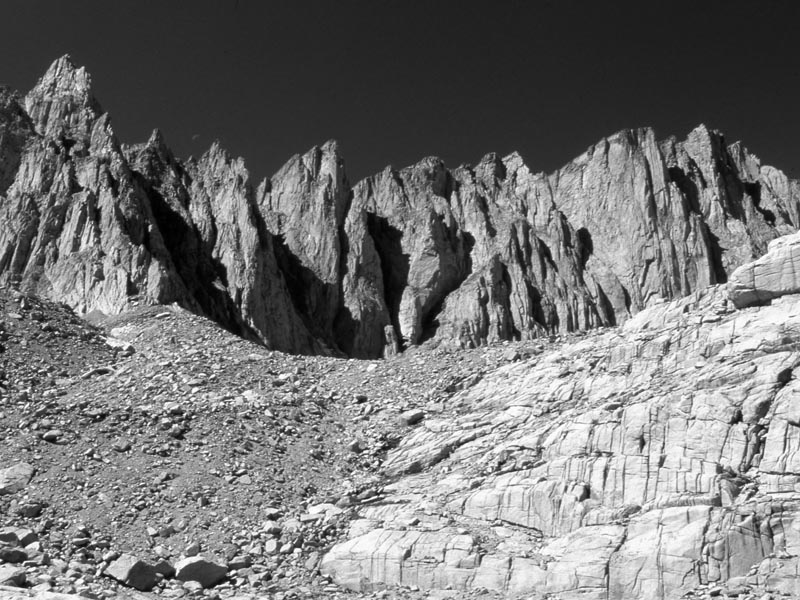 Mount Whitney from Trail Camp bw Max Clarke