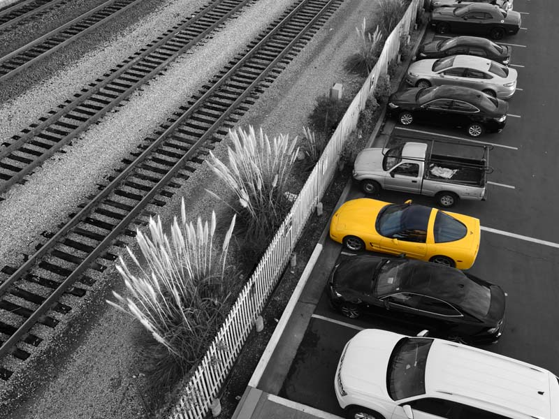 YELLOW CORVETTE in bw photo  MAX CLARKE